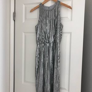 Silver sequin knee length dress